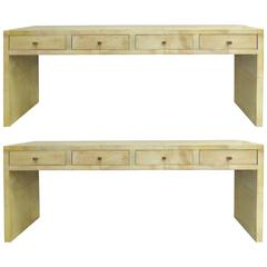 Goatskin Clad Wood Four-Drawer Console Tables with Hammered Copper Handles