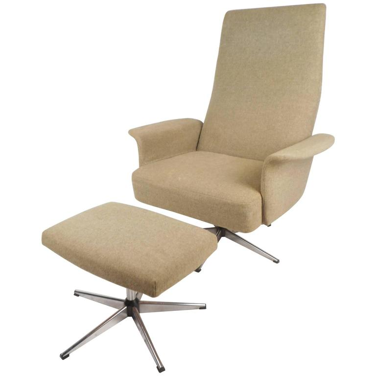 Amazing Mid-Century Modern Adjustable Danish Lounge Chair and Ottoman