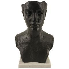 Modern Bronze and Marble Bust of a Man
