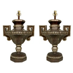 Pair of Silvered Continental Style Urn Lamps