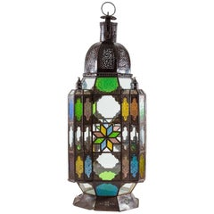 Primitive Moroccan Lantern with Colored Panes