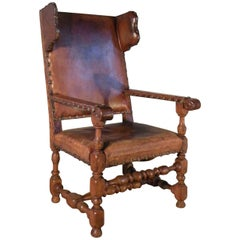 Swedish Baroque 17th Century Leather-Covered Wing Back Armchair