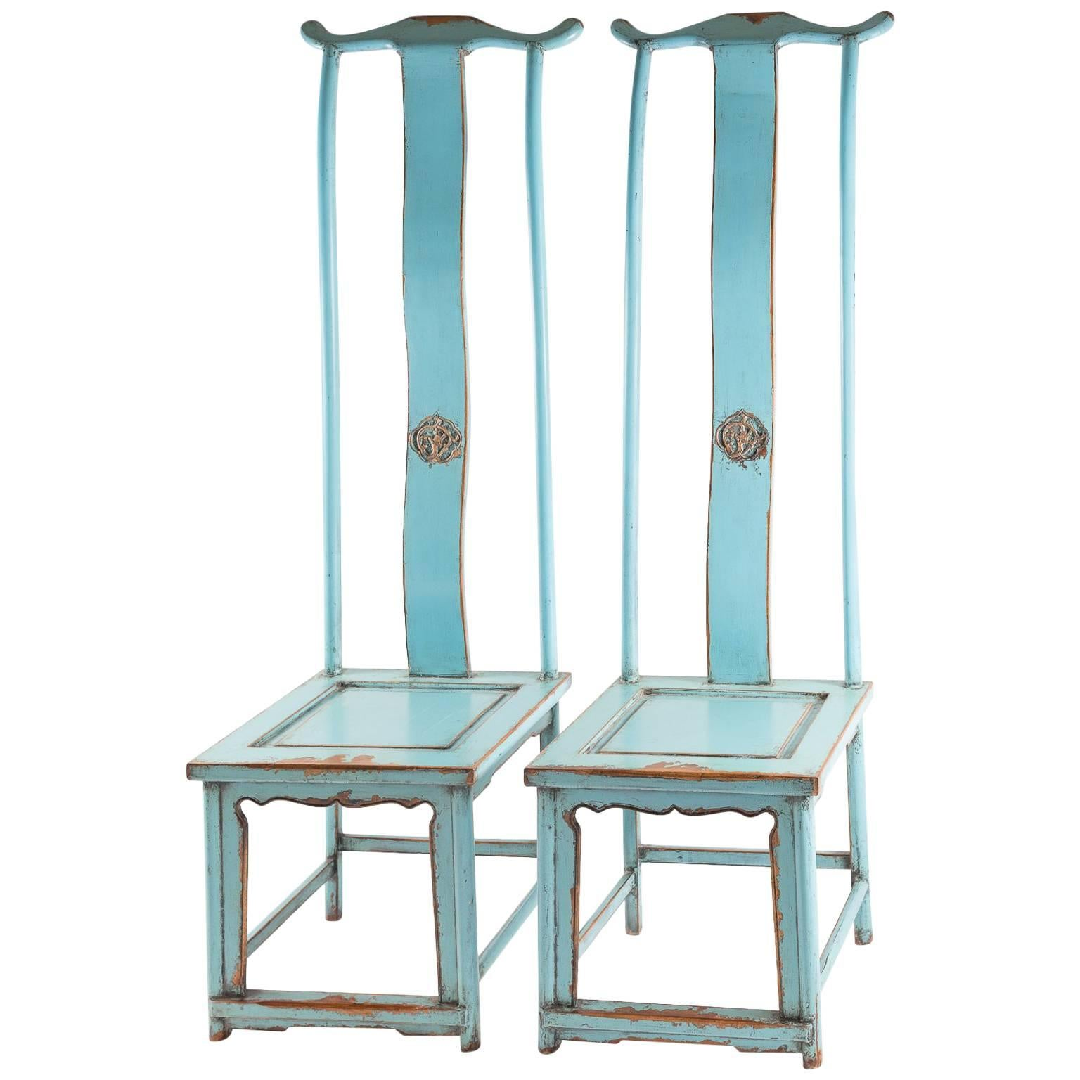 Pair of Blue Painted Elm Yoke Back Officials Hat Chairs