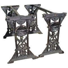 Beautiful Pair of Victorian Aesthetic Movement Cast Iron Garden Tables