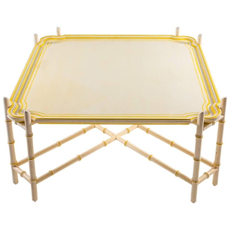 Mid-Century Baker Chinoiserie Faux Bamboo Coffee Table