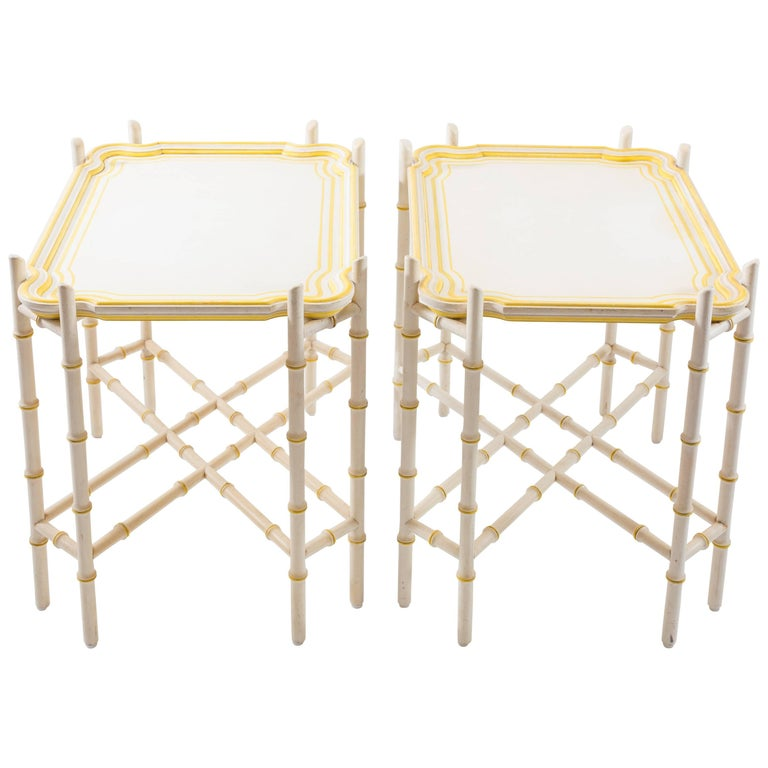 Pair of Baker Mid-Century Chinoiserie Yellow Trimmed Faux Bamboo Tray Tables For Sale