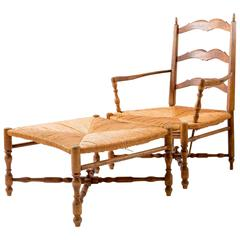 French Country Provence Chair and Ottoman