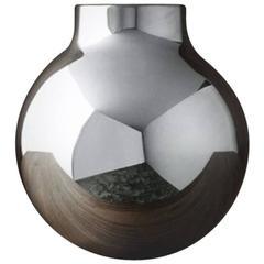 Olivia Herms for Skultuna, Large Boule Vase, Silver Plated Brass