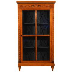 Antique Biedermeier Style Bookcase with Inlay  Details