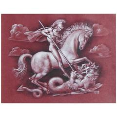 """St. George and the Dragon,"" Art Deco Drawing with Male Nude by Goor"