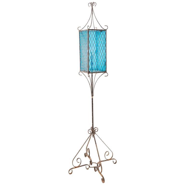 Vintage Venetian Blue Lantern Style Floor Lamp
