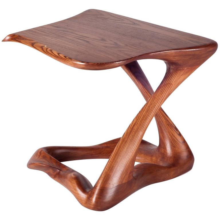 Small Contemporary Modern Side Table Ash Wood with Walnut Stained