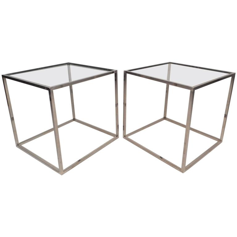 Mid Century Modern Cube Chrome End Tables In The Style Of