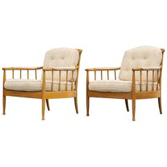 Pair of Swedish Easychairs Designed by Kerstin Hörlin-Holmquist