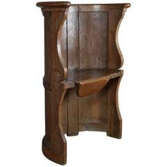 French 16th Century early Baroque Oak Barrel-Back Seat