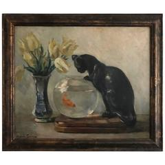 Cat with Fish Bowl Still Life Oil on Canvas Painting by Andree Guerin, French