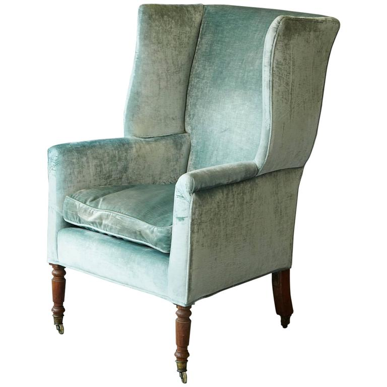 19th Century Hepplewhite Mahogany Wingback Chair in Silver Striae Velvet For Sale