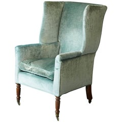 19th Cent. Hepplewhite Mahogany Wingback Chair in Light Turqouise Striae Velvet