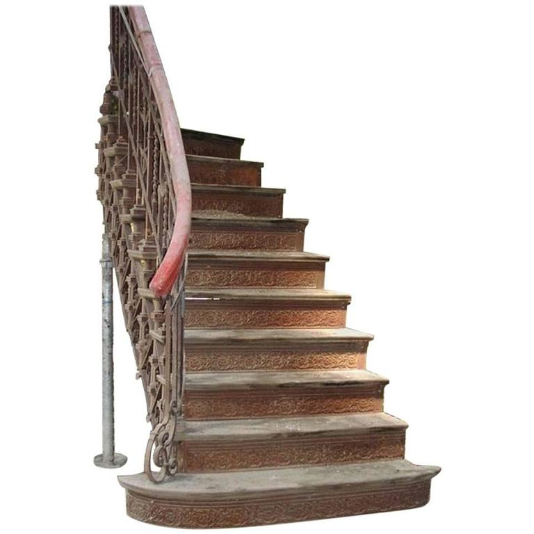 Arts & Crafts Cast & Wrought Iron Double Staircase by Eisenwerk Joly Wittenberg