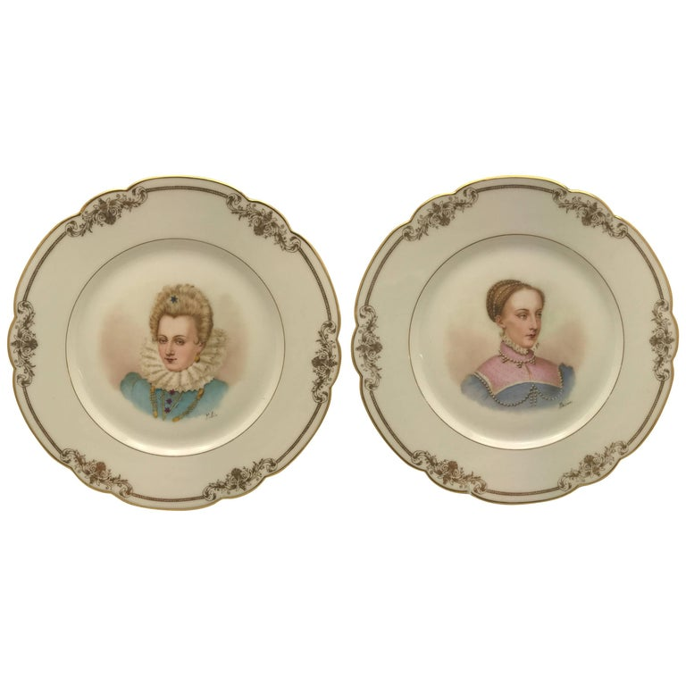 Pair of Antique Sevres France Portrait Plates, Hand-Painted Artist Signed