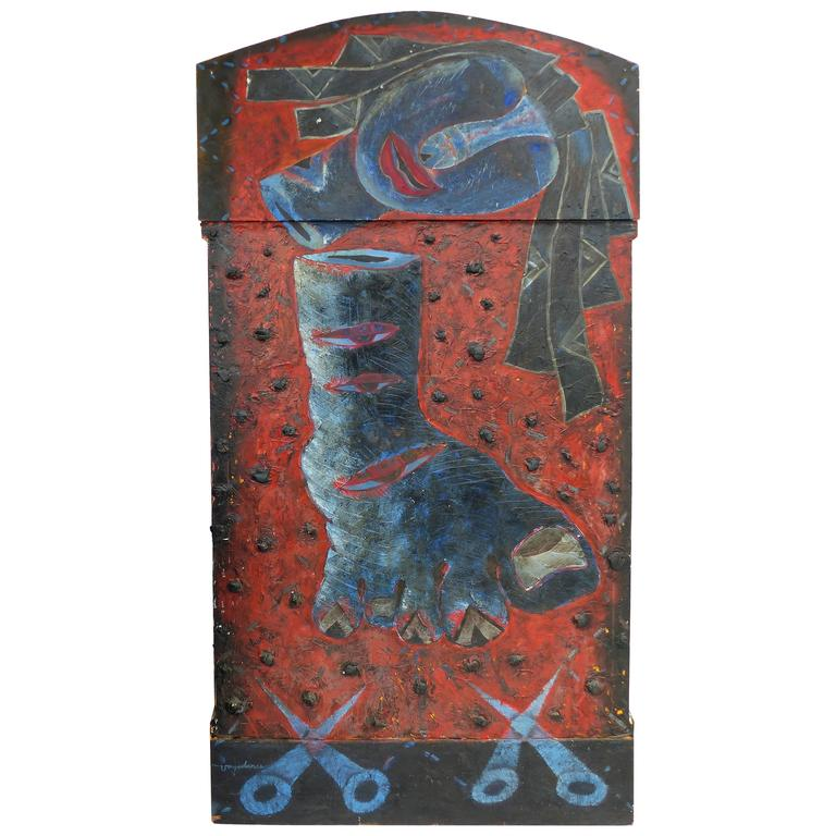 Late 20th Century Assemblage Painting by Crispin Vayadares For Sale
