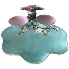 19th Victorian Majolica Bird Platter Joseph Holdcroft