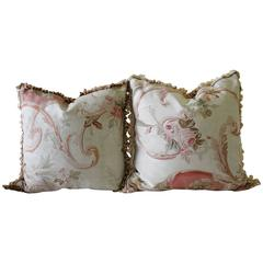 Pair of Large 18th Century Aubusson Pillows