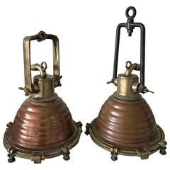 Early 20th Century Pair of Wiska Ships Deck Lights or Floodlights