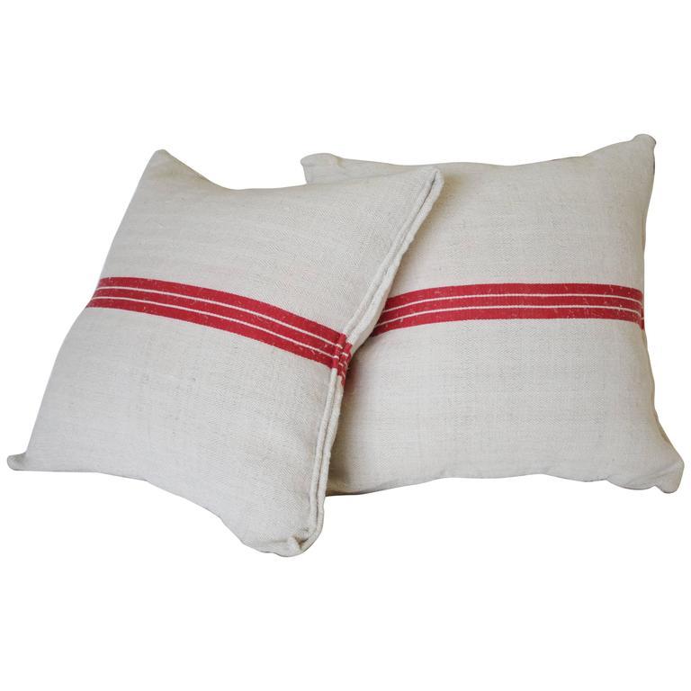 Pair of Red Stripe Antique European Linen Grainsack Pillows