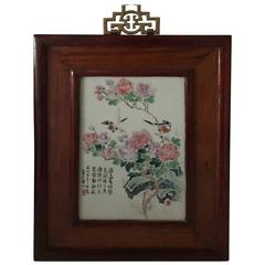 Early 20th Century Chinese Republic Porcelain Plaque with Poem