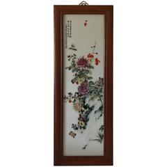 1985 Large Chinese Porcelain Plaque with Flowers and Poem