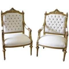 Pair of 19th Century Giltwood Linen Tufted Open Armchairs