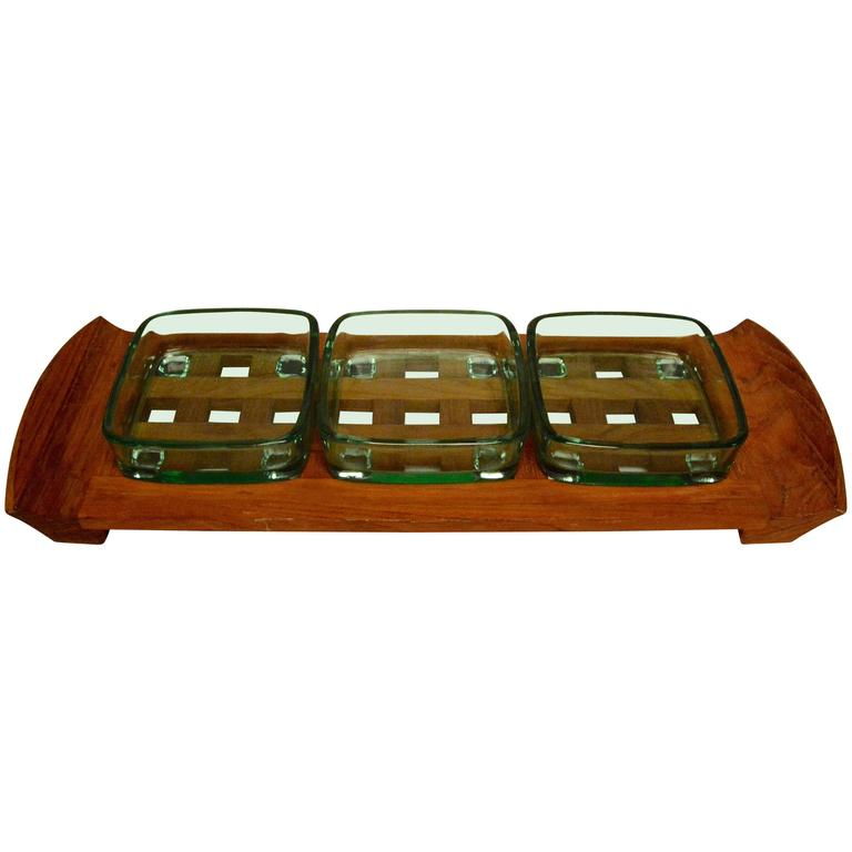 Danish Mid-Century Modern Dansk Teak Lattice Serving Tray For Sale
