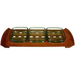 Danish Mid-Century Modern Dansk Teak Lattice Serving Tray