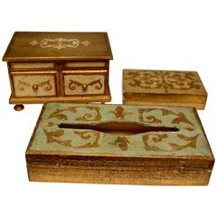 Gilt Wood Trinket Boxes and Tissue Box