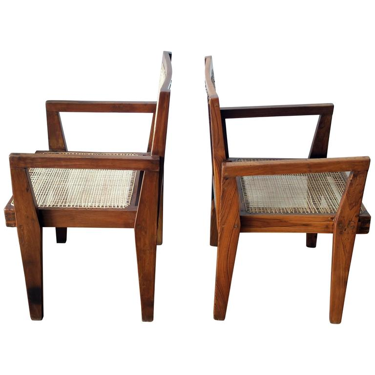 Pierre Jeanneret Pair of Take Down Armchairs, circa 1955-60 For Sale