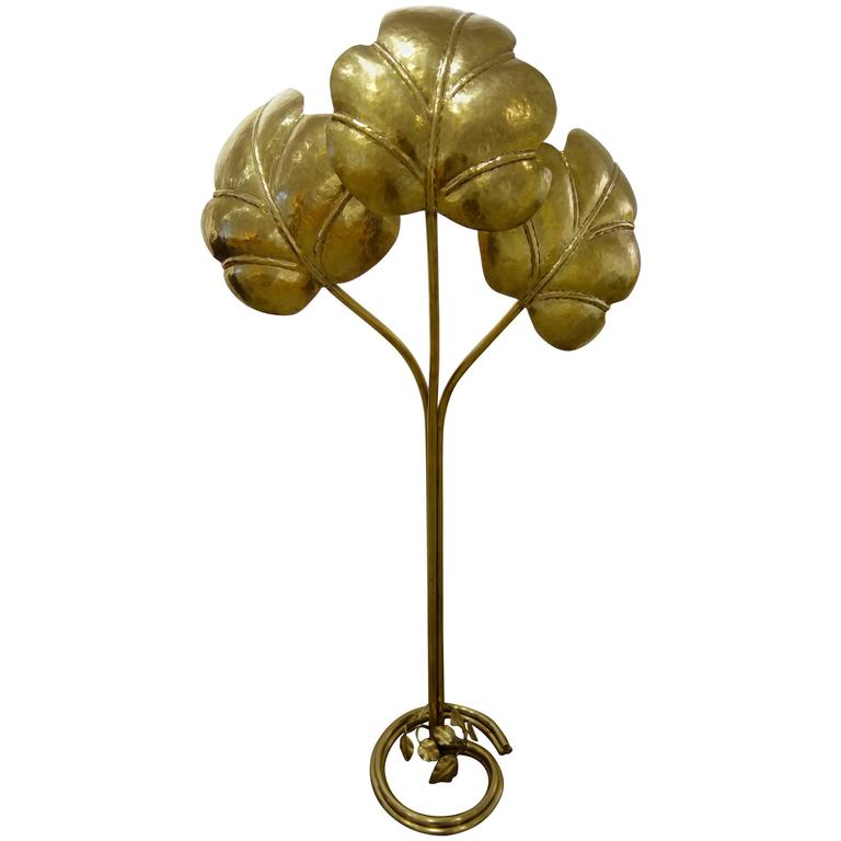 Tommaso Barbi Italian Mid-Century Brass Three-Leaf Floor Lamp   For Sale