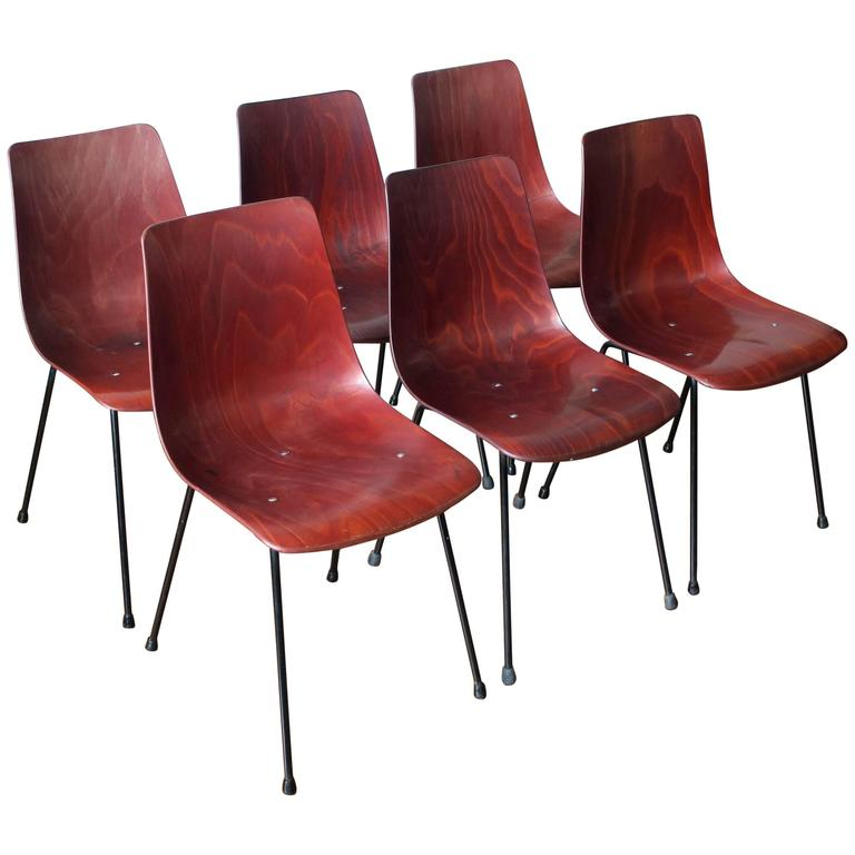 Pierre Paulin Set of Six CM131 Dining Chairs, circa 1954 For Sale