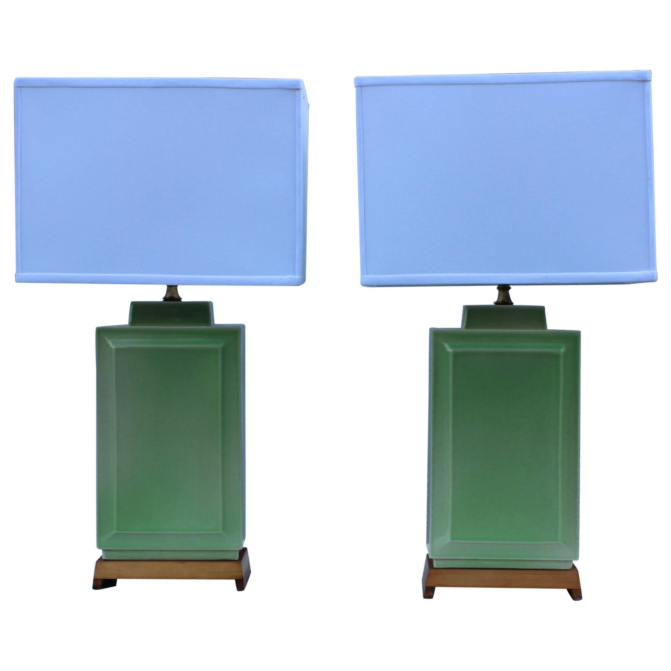 1940s Ceramic Table Lamps By Lightolier