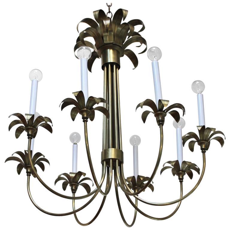 1950s Eight-Arm Italian Brass Flower Chandelier