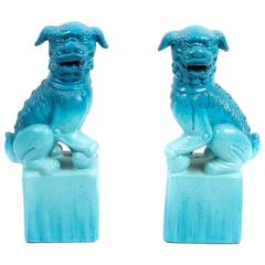 Pair of Chinese Blue Ceramic Guardian Lion
