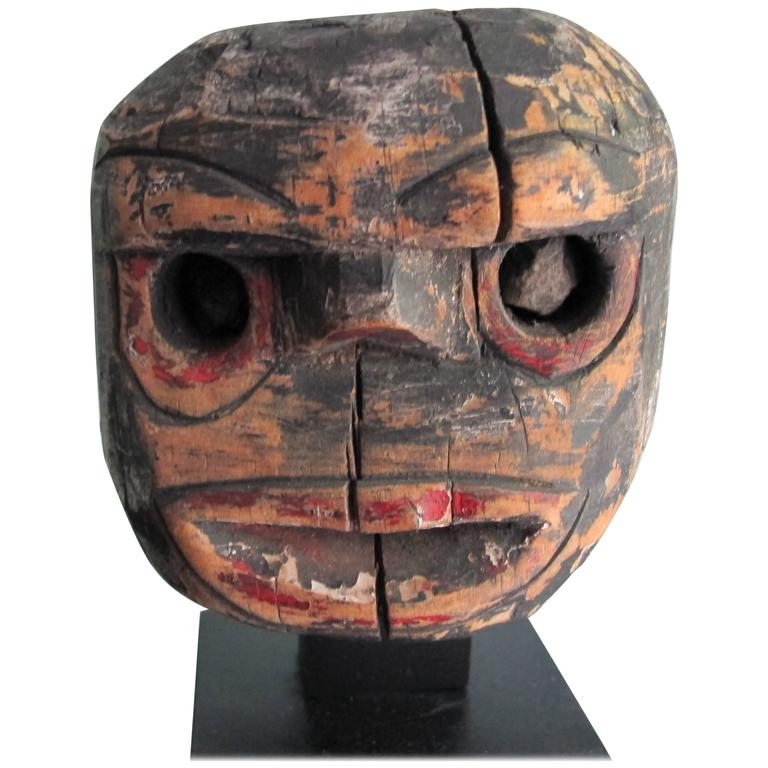 Folk Art Wood Head with Stone Eyes 1