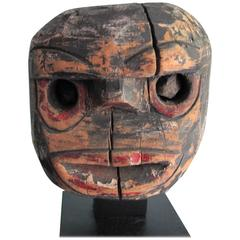 Folk Art Wood Head with Stone Eyes