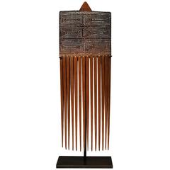 Early to Mid-20th Century Mounted Tribal Bamboo Comb, Papua New Guinea