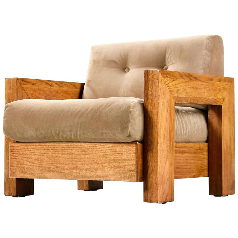 Mission Style Cube Oak Lounge Chair, 1970s For Sale