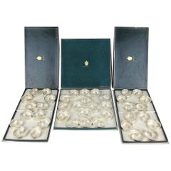 Christofle Gallia French Art Deco Arabesque Trivets, Boxed Set of Five