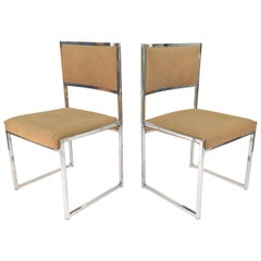 Willy Rizzo Pair of Side Dining Chairs