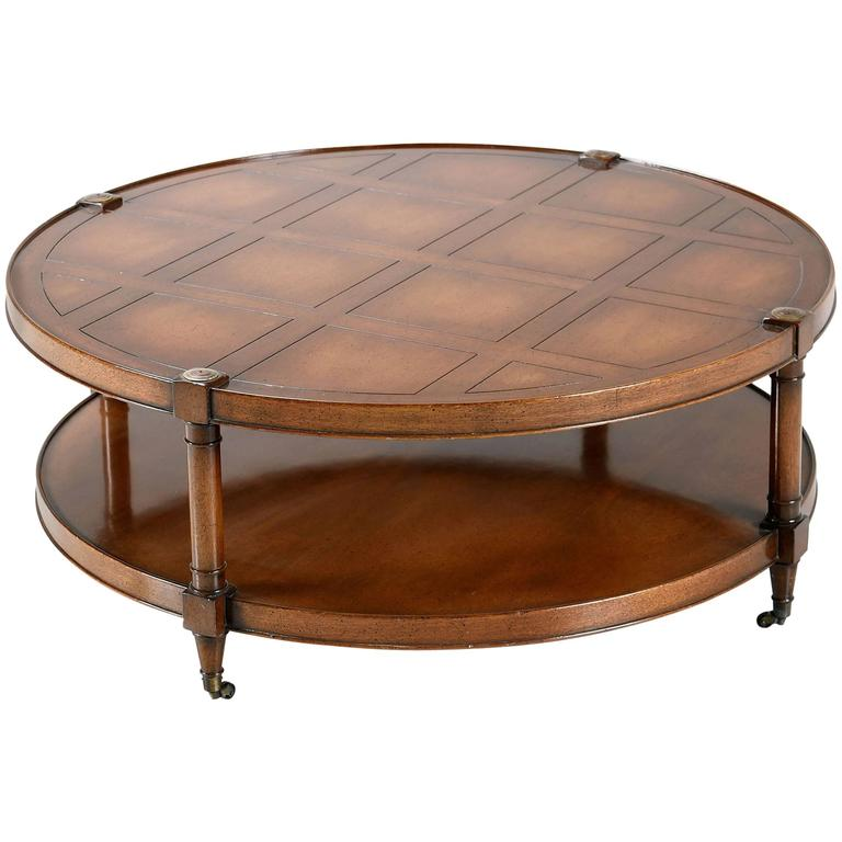Heritage Mahogany Round Coffee Table On Casters For Sale At 1stdibs