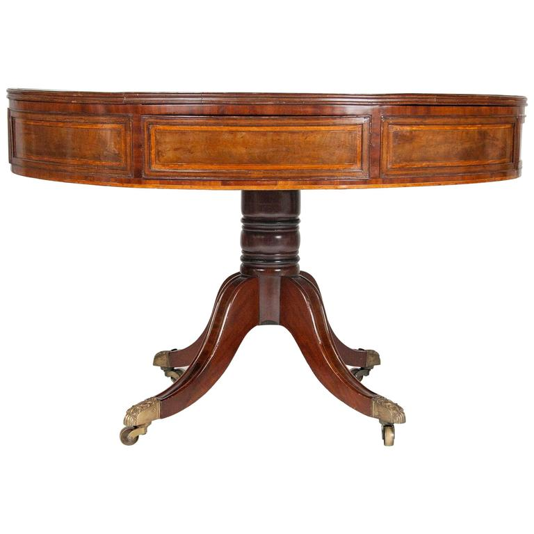 Regency Mahogany and Inlaid Drum Table