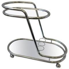 Chrome, Mirror and Glass Bar Cart